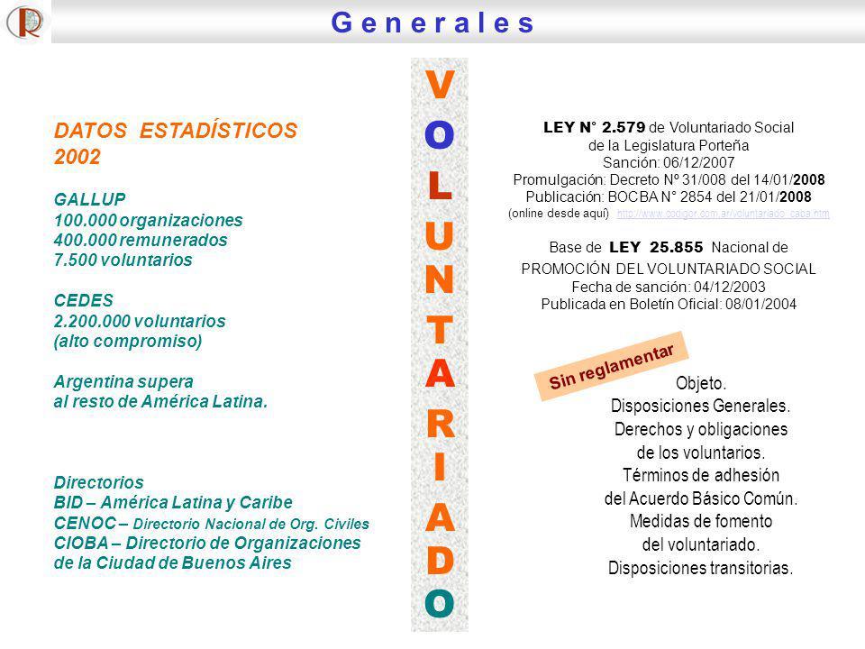 DATOS ESTADÍSTICOS 2002 GALLUP 100.000 organizaciones 400.000 remunerados 7.500 voluntarios CEDES 2.200.000 voluntarios (alto compromiso) Argentina su