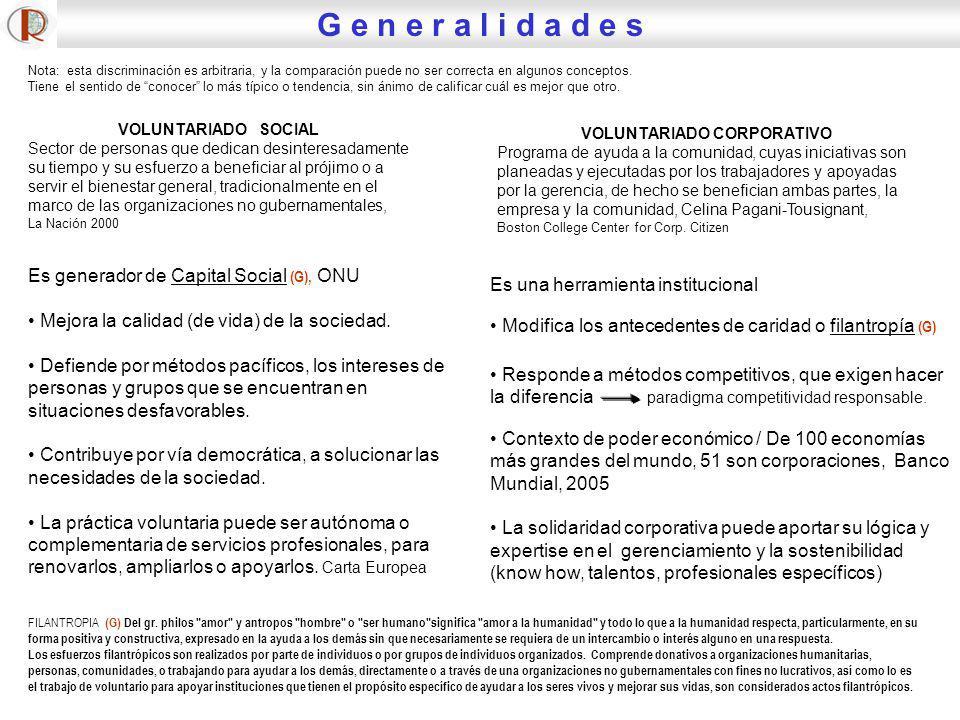 Es generador de Capital Social (G), ONU Mejora la calidad (de vida) de la sociedad. Defiende por métodos pacíficos, los intereses de personas y grupos