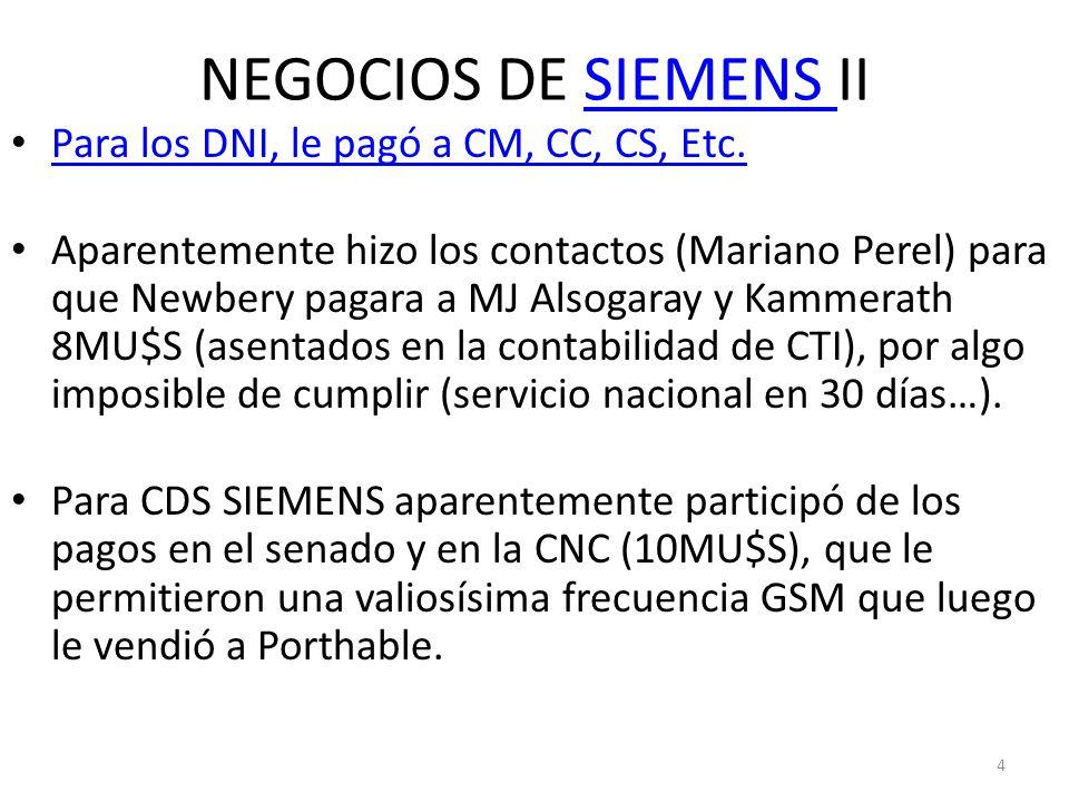 NEGOCIOS DE SIEMENS IISIEMENS Para los DNI, le pagó a CM, CC, CS, Etc. Aparentemente hizo los contactos (Mariano Perel) para que Newbery pagara a MJ A