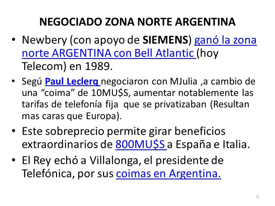 NEGOCIADO ZONA NORTE ARGENTINA Newbery (con apoyo de SIEMENS) ganó la zona norte ARGENTINA con Bell Atlantic (hoy Telecom) en 1989.ganó la zona norte
