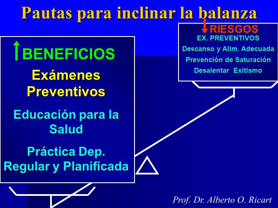 Pautas para inclinar la balanza Prof. Dr. Alberto O. Ricart BENEFICIOS Exámenes Preventivos Educación para la Salud Práctica Dep. Regular y Planificad