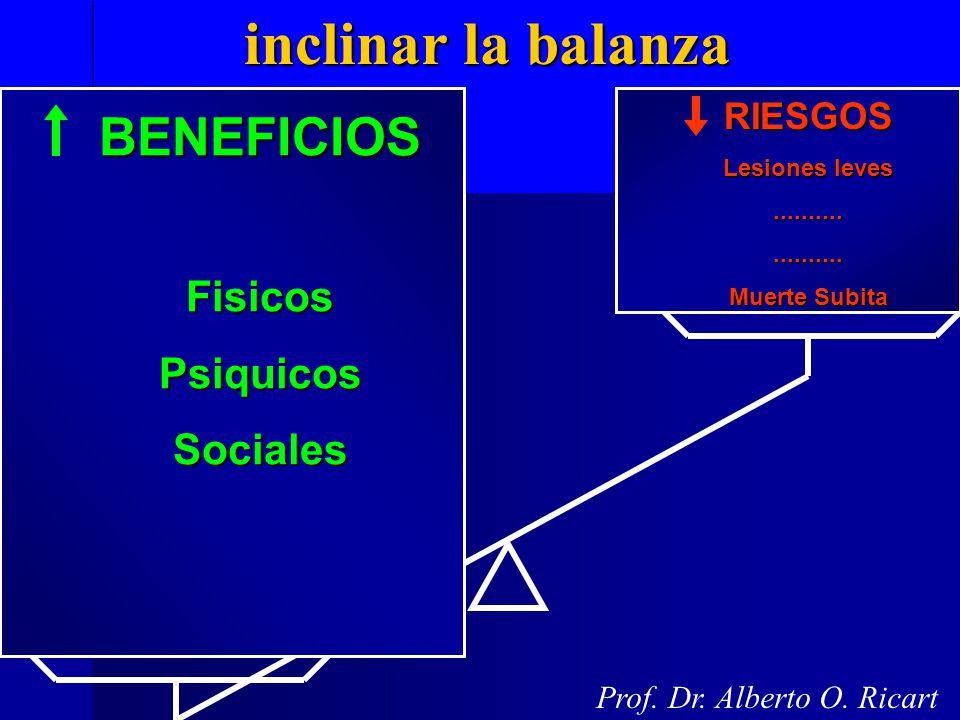 inclinar la balanza inclinar la balanza Prof. Dr. Alberto O. Ricart BENEFICIOSFisicosPsiquicosSocialesRIESGOS Lesiones leves.................... Muert