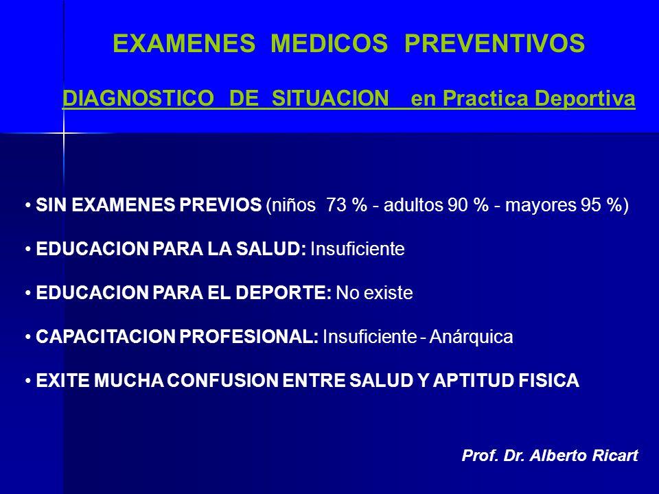 EXAMENES MEDICOS PREVENTIVOS DIAGNOSTICO DE SITUACION en Practica Deportiva SIN EXAMENES PREVIOS (niños 73 % - adultos 90 % - mayores 95 %) EDUCACION