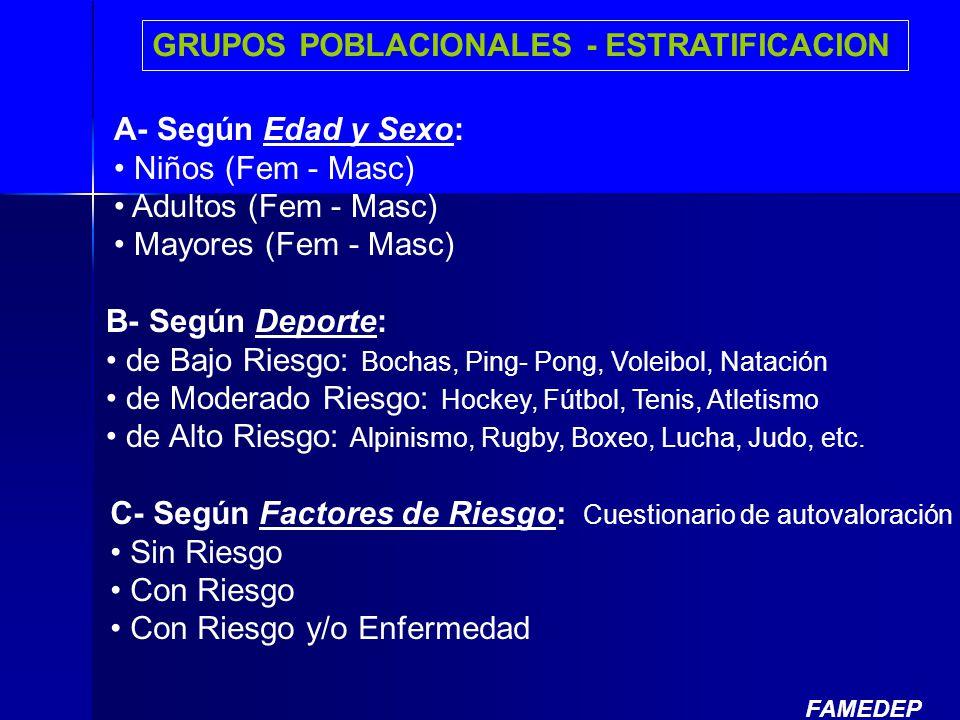 A- Según Edad y Sexo: Niños (Fem - Masc) Adultos (Fem - Masc) Mayores (Fem - Masc) B- Según Deporte: de Bajo Riesgo: Bochas, Ping- Pong, Voleibol, Nat