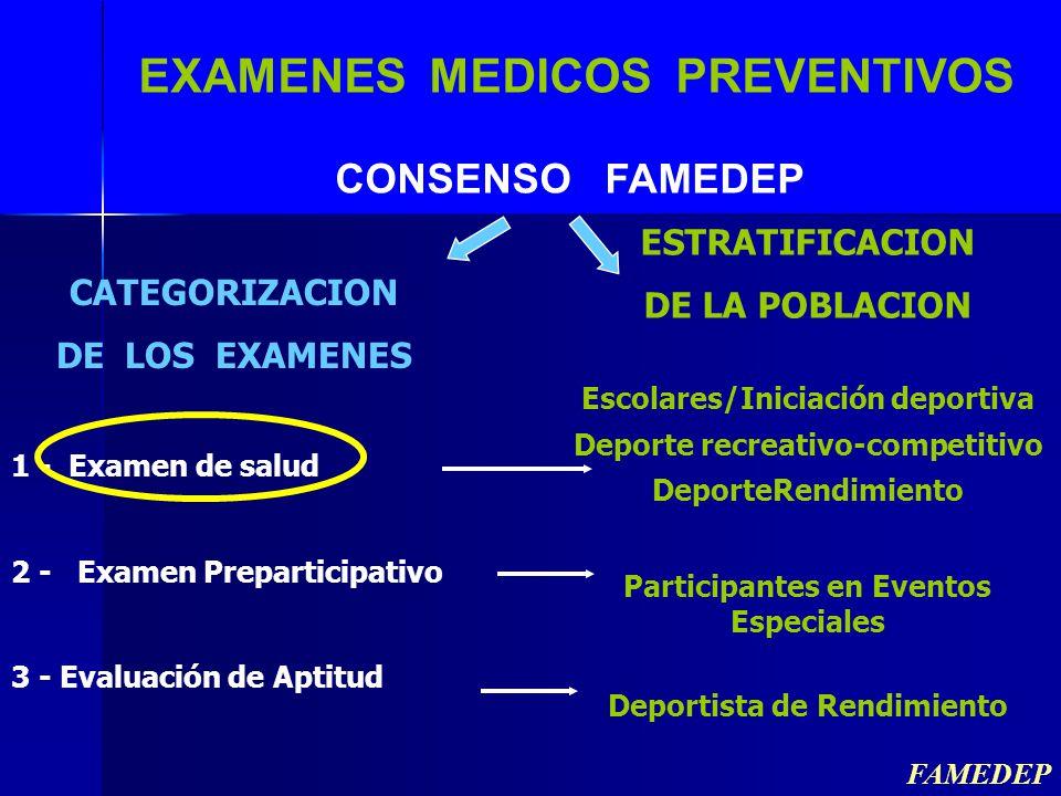 EXAMENES MEDICOS PREVENTIVOS CONSENSO FAMEDEP CATEGORIZACION DE LOS EXAMENES 1 - Examen de salud 2 - Examen Preparticipativo 3 - Evaluación de Aptitud