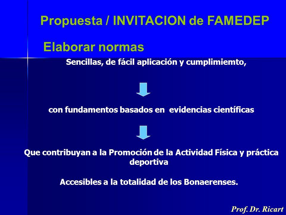 Propuesta / INVITACION de FAMEDEP Sencillas, de fácil aplicación y cumplimiemto, Prof. Dr. Ricart Elaborar normas con fundamentos basados en evidencia