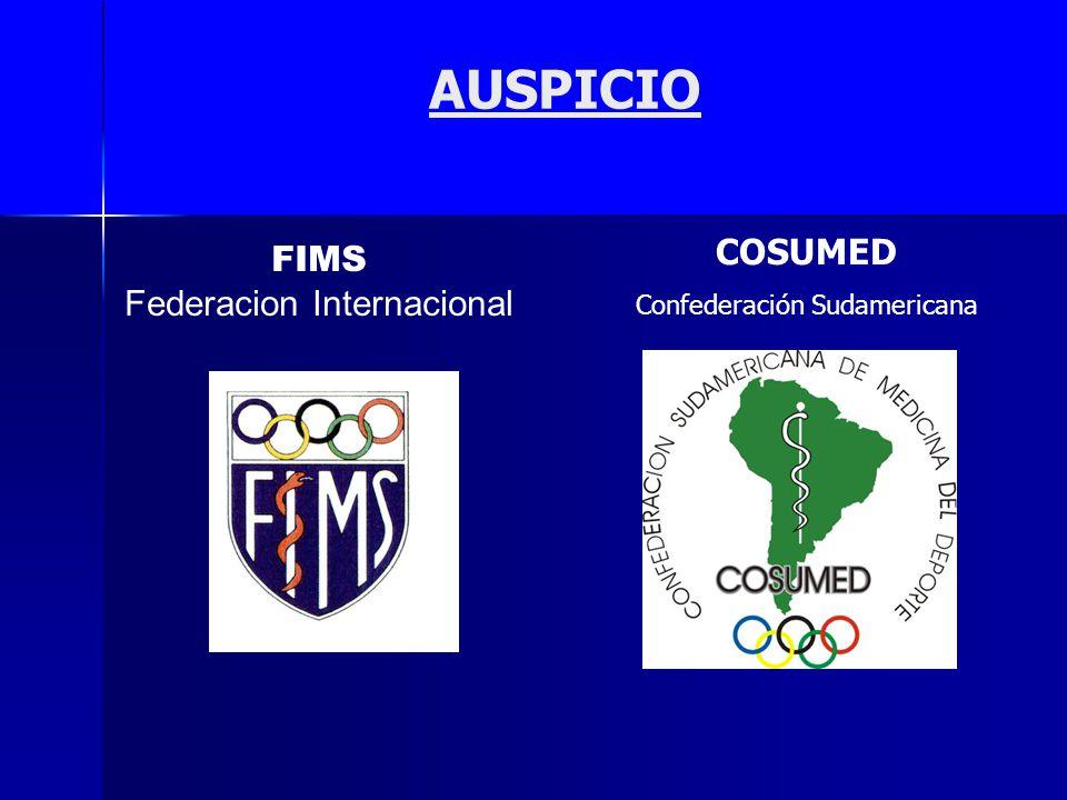 AUSPICIO FIMS Federacion Internacional COSUMED Confederación Sudamericana