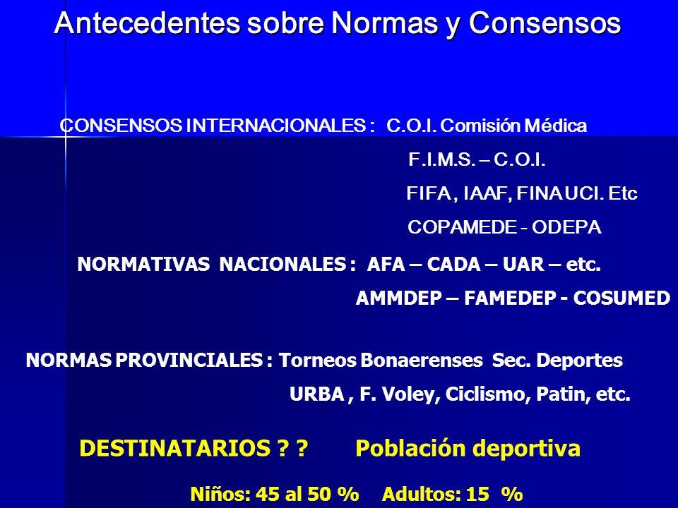 Antecedentes sobre Normas y Consensos CONSENSOS INTERNACIONALES : C.O.I. Comisión Médica F.I.M.S. – C.O.I. FIFA, IAAF, FINA UCI. Etc COPAMEDE - ODEPA