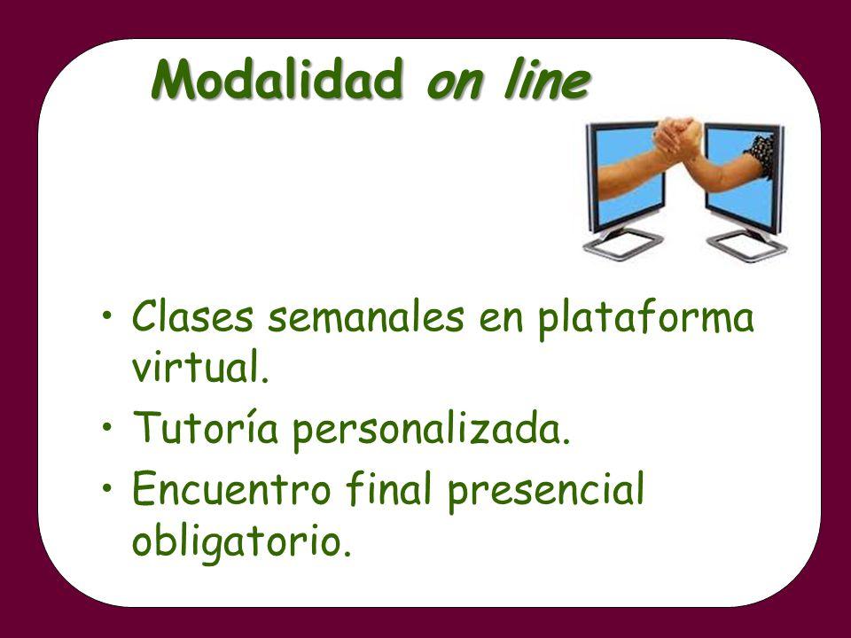 Modalidad on line Clases semanales en plataforma virtual. Tutoría personalizada. Encuentro final presencial obligatorio.