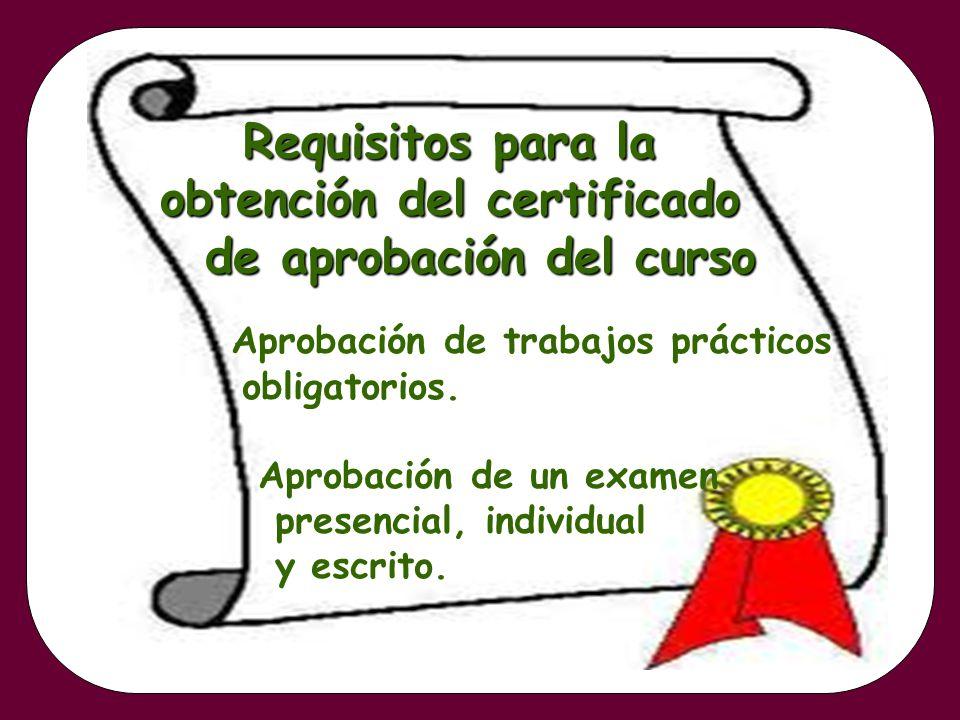 Requisitos para la obtención del certificado de aprobación del curso Aprobación de trabajos prácticos obligatorios. Aprobación de un examen presencial