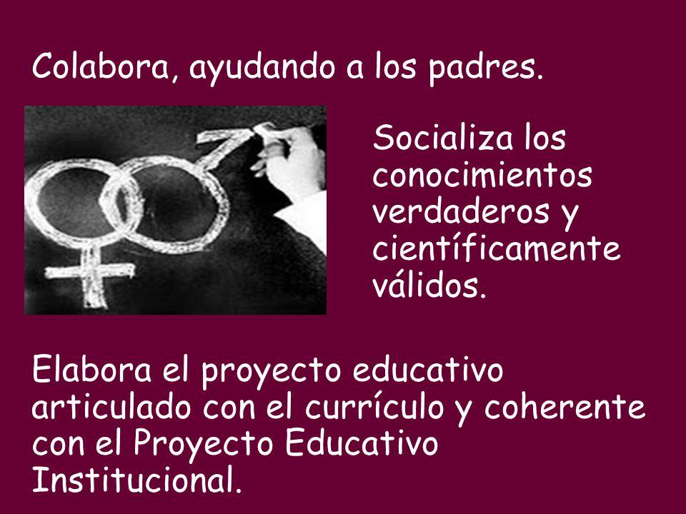 Colabora, ayudando a los padres. Socializa los conocimientos verdaderos y científicamente válidos. Elabora el proyecto educativo articulado con el cur