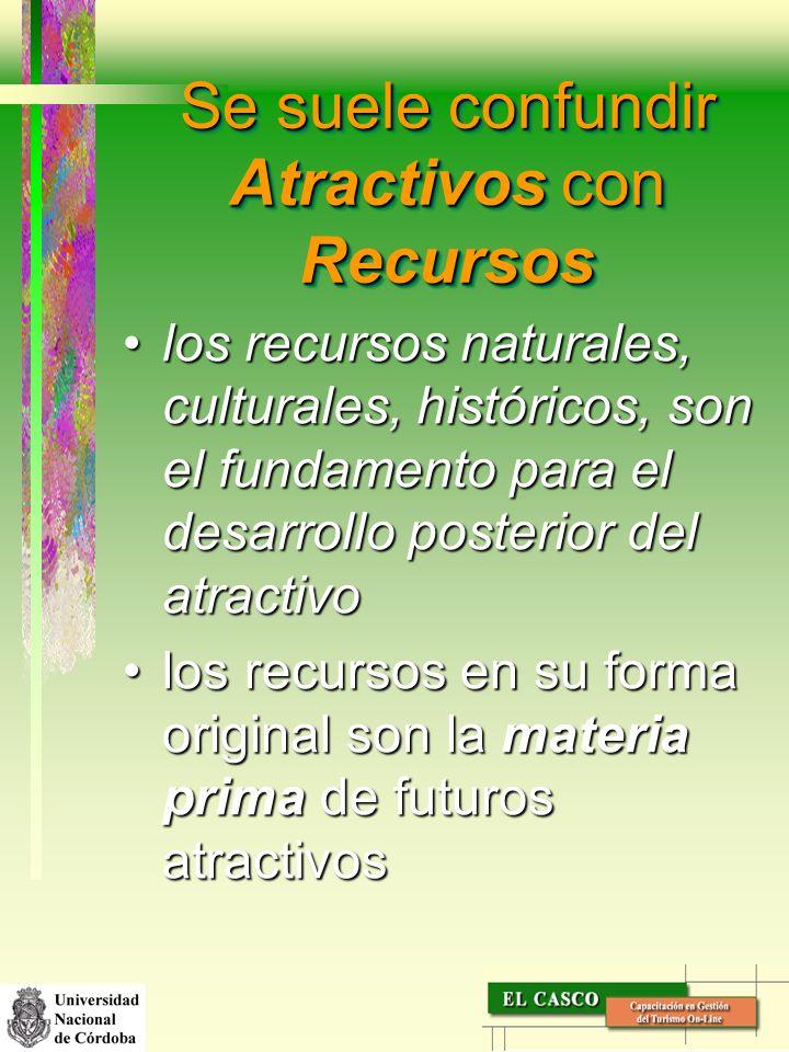 Se suele confundir Atractivos con Recursos los recursos naturales, culturales, históricos, son el fundamento para el desarrollo posterior del atractiv