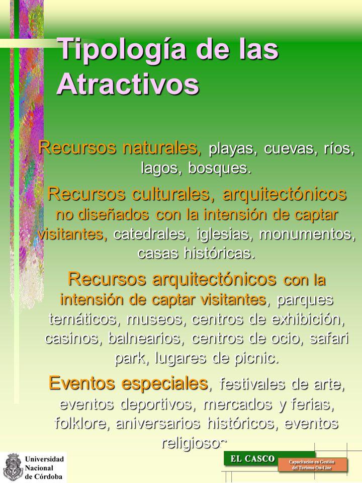 Tipología de las Atractivos Recursos naturales, playas, cuevas, ríos, lagos, bosques. Recursos culturales, arquitectónicos no diseñados con la intensi