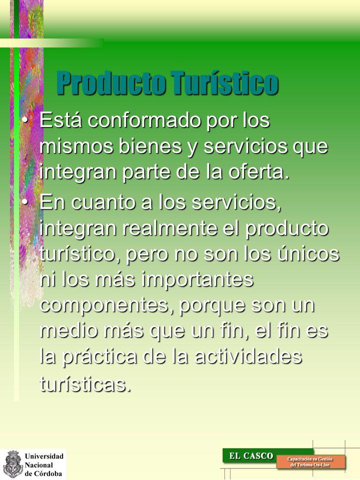 Producto Turístico Está conformado por los mismos bienes y servicios que integran parte de la oferta.Está conformado por los mismos bienes y servicios