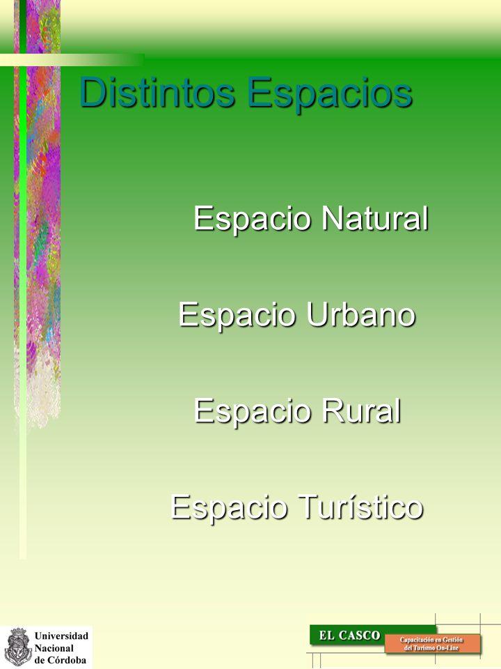 Distintos Espacios Espacio Natural Espacio Urbano Espacio Rural Espacio Turístico