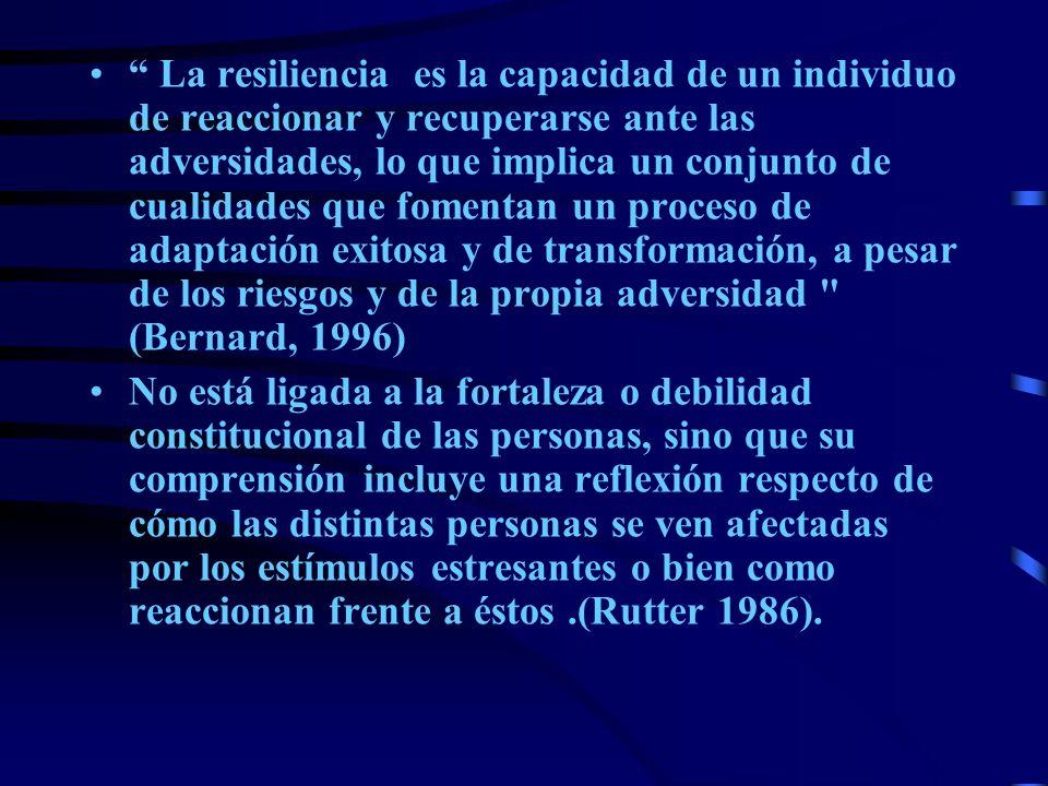 La resiliencia es la capacidad de un individuo de reaccionar y recuperarse ante las adversidades, lo que implica un conjunto de cualidades que fomenta