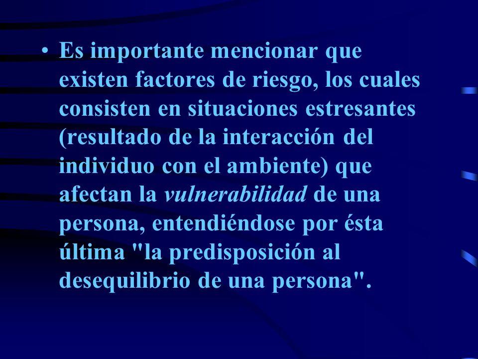Es importante mencionar que existen factores de riesgo, los cuales consisten en situaciones estresantes (resultado de la interacción del individuo con