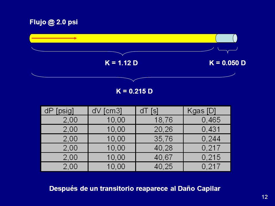 12 Flujo @ 2.0 psi K = 1.12 D K = 0.050 D K = 0.215 D Después de un transitorio reaparece al Daño Capilar