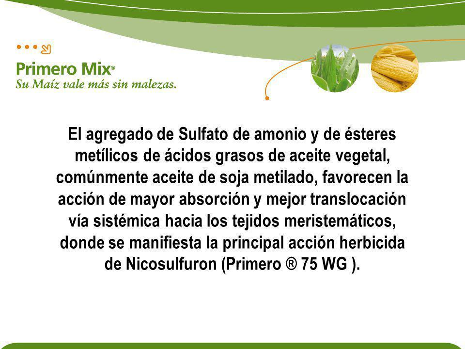 El agregado de Sulfato de amonio y de ésteres metílicos de ácidos grasos de aceite vegetal, comúnmente aceite de soja metilado, favorecen la acción de