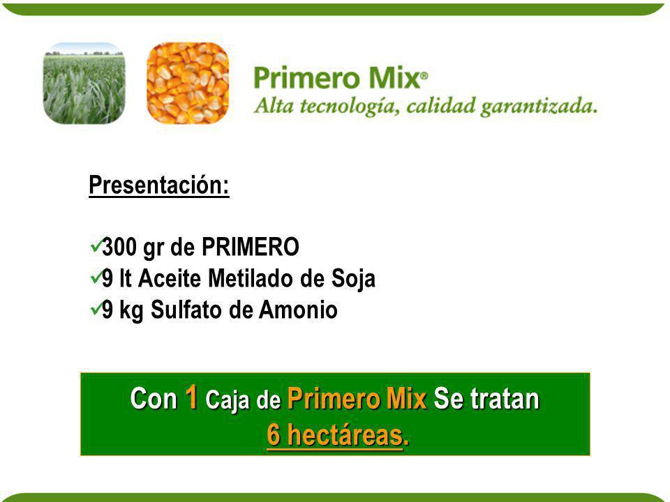 Presentación: 300 gr de PRIMERO 9 lt Aceite Metilado de Soja 9 kg Sulfato de Amonio Con 1 Caja de Primero Mix Se tratan 6 hectáreas. 6 hectáreas.