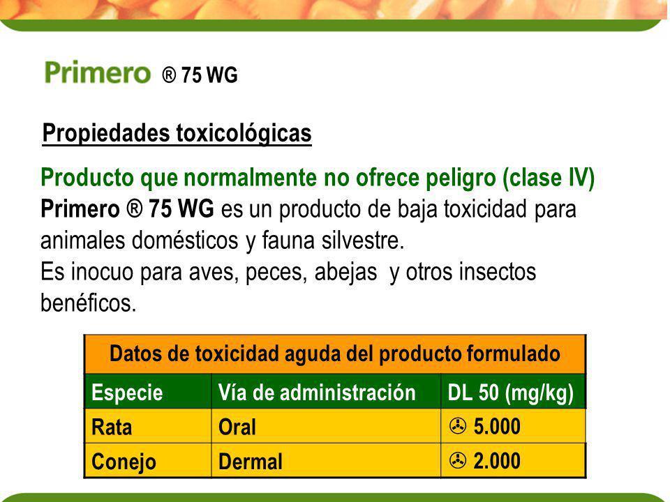 Propiedades toxicológicas Producto que normalmente no ofrece peligro (clase IV) Primero ® 75 WG es un producto de baja toxicidad para animales domésti