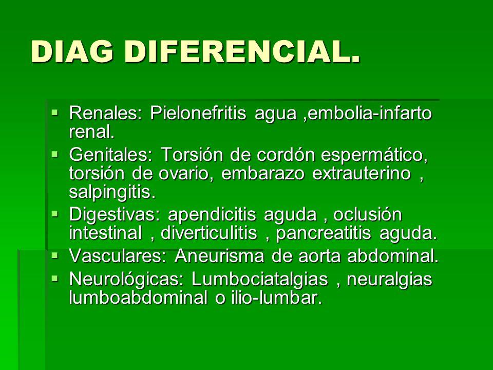 DIAG DIFERENCIAL.Renales: Pielonefritis agua,embolia-infarto renal.