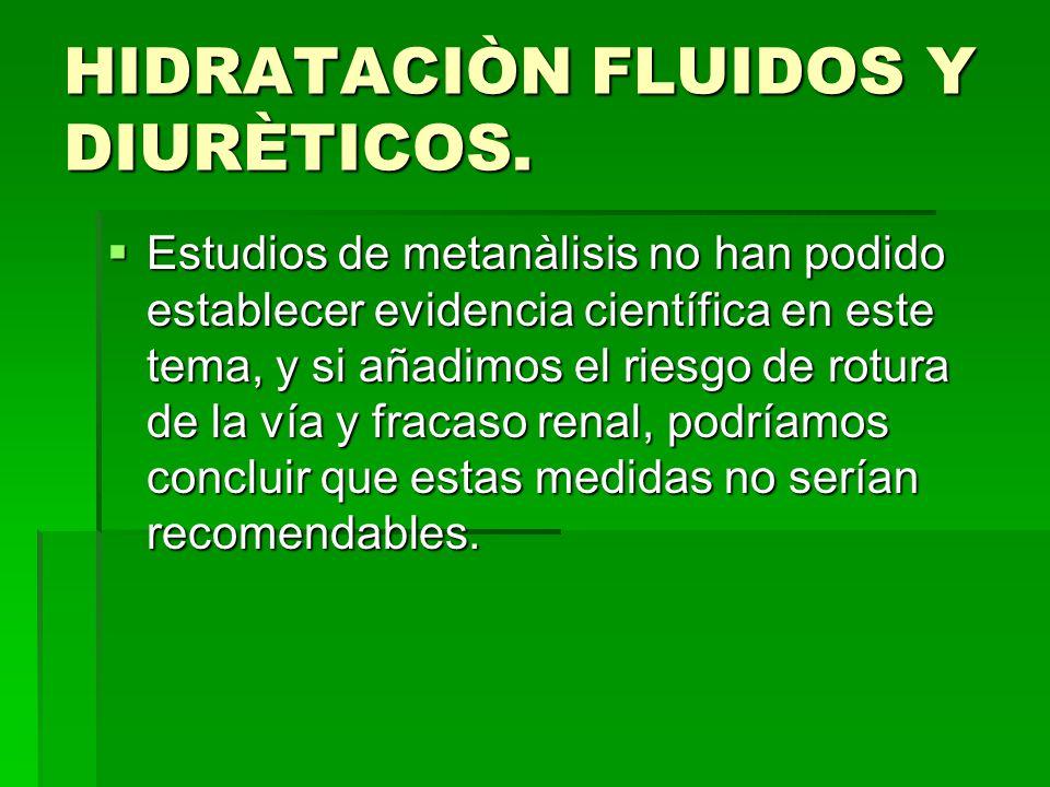 HIDRATACIÒN FLUIDOS Y DIURÈTICOS.