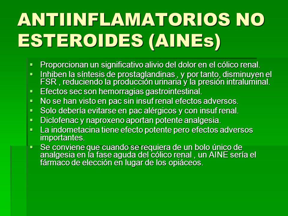 ANTIINFLAMATORIOS NO ESTEROIDES (AINEs) Proporcionan un significativo alivio del dolor en el cólico renal.