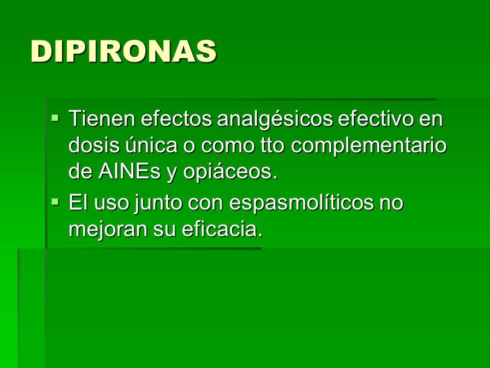 DIPIRONAS Tienen efectos analgésicos efectivo en dosis única o como tto complementario de AINEs y opiáceos.