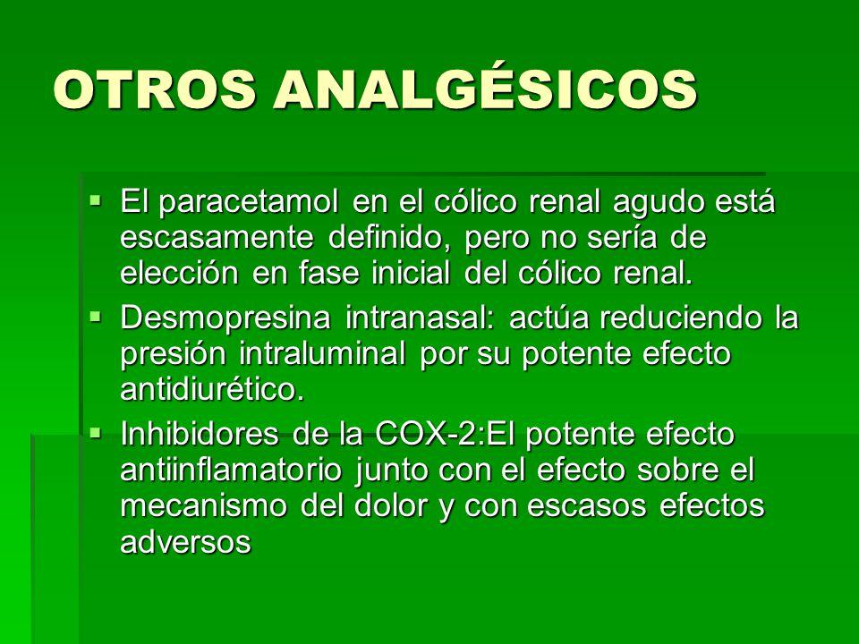 OTROS ANALGÉSICOS El paracetamol en el cólico renal agudo está escasamente definido, pero no sería de elección en fase inicial del cólico renal.