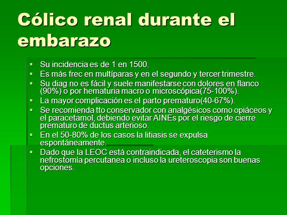 Cólico renal durante el embarazo Su incidencia es de 1 en 1500.