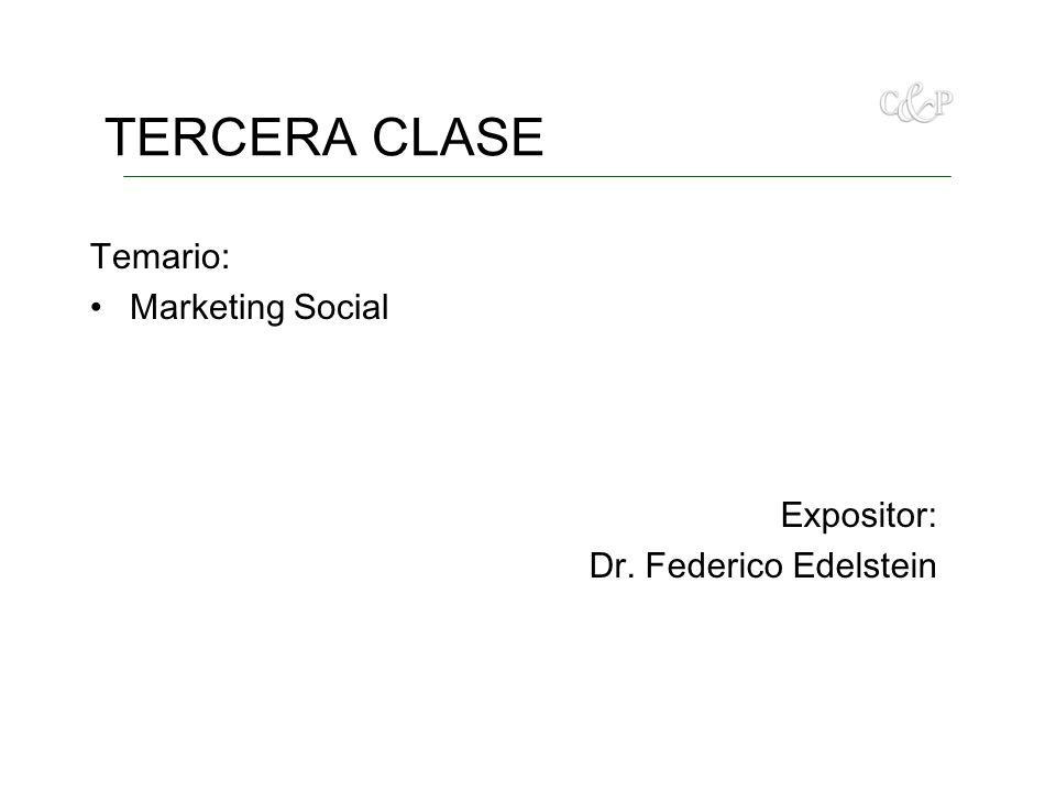 TERCERA CLASE Temario: Marketing Social Expositor: Dr. Federico Edelstein