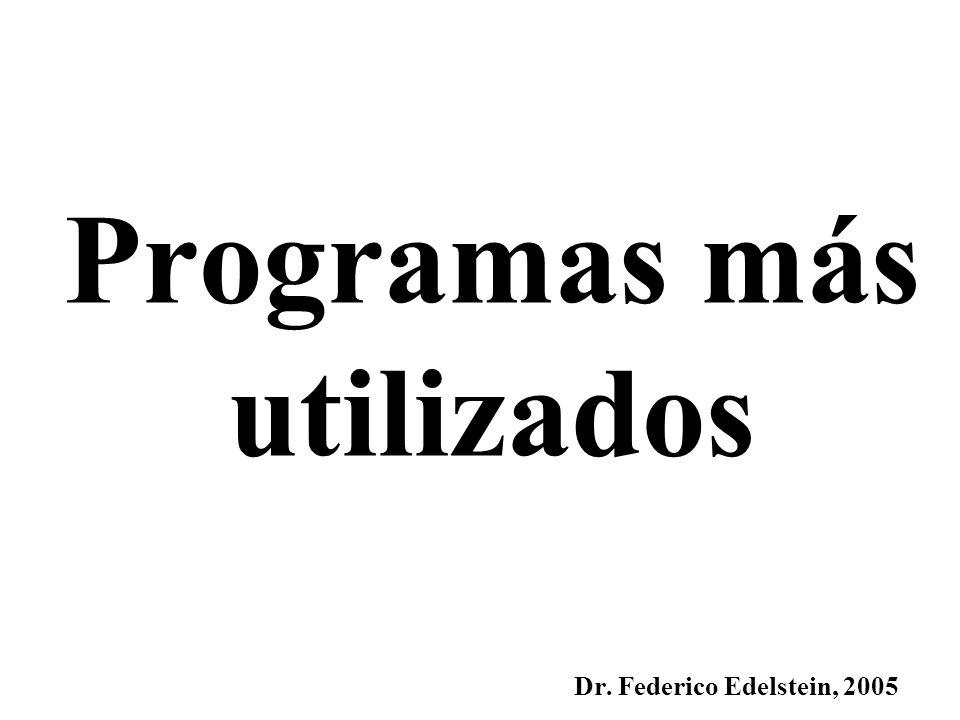Programas más utilizados Dr. Federico Edelstein, 2005
