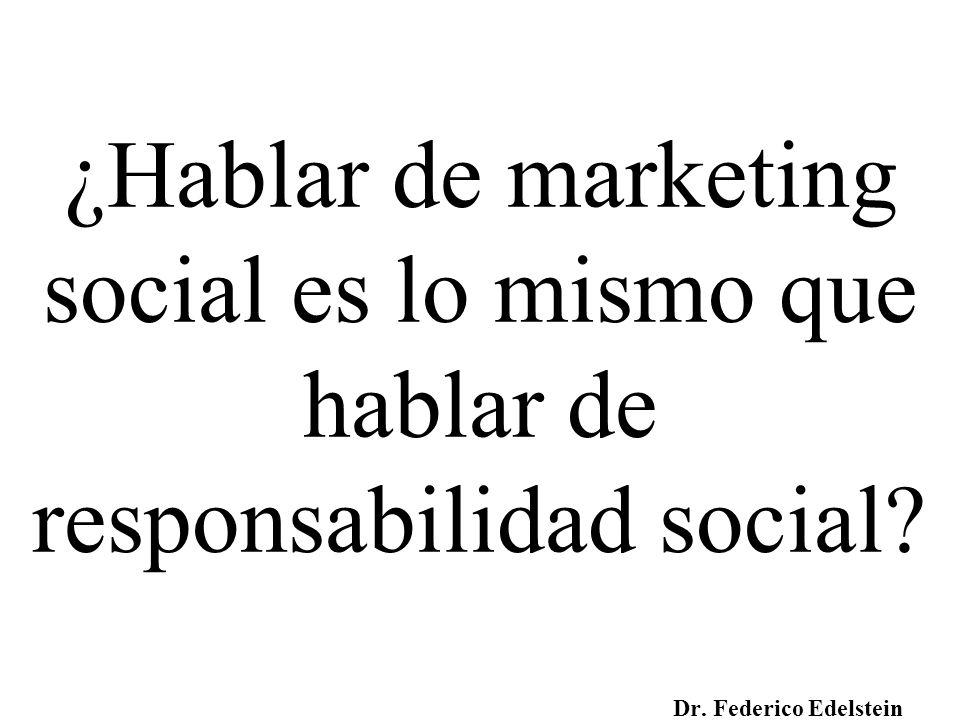 ¿Hablar de marketing social es lo mismo que hablar de responsabilidad social? Dr. Federico Edelstein