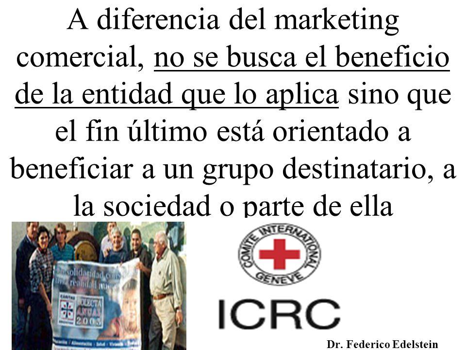A diferencia del marketing comercial, no se busca el beneficio de la entidad que lo aplica sino que el fin último está orientado a beneficiar a un gru