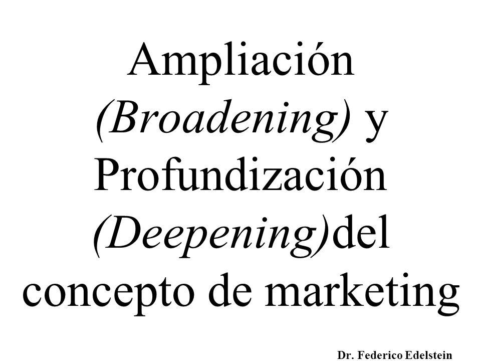 Ampliación (Broadening) y Profundización (Deepening)del concepto de marketing Dr. Federico Edelstein