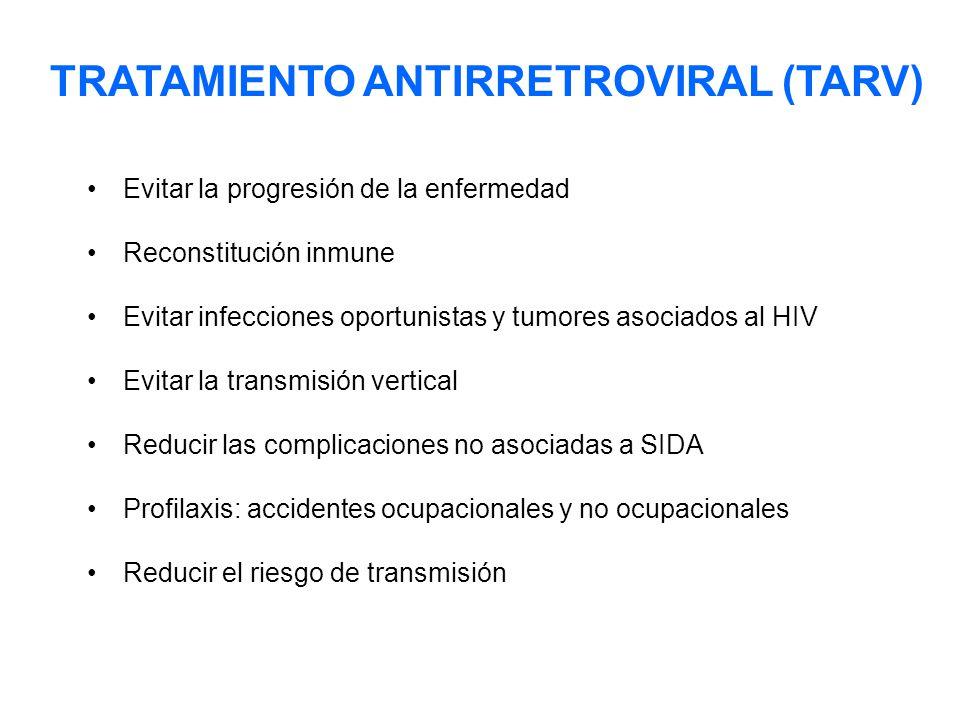Evitar la progresión de la enfermedad Reconstitución inmune Evitar infecciones oportunistas y tumores asociados al HIV Evitar la transmisión vertical