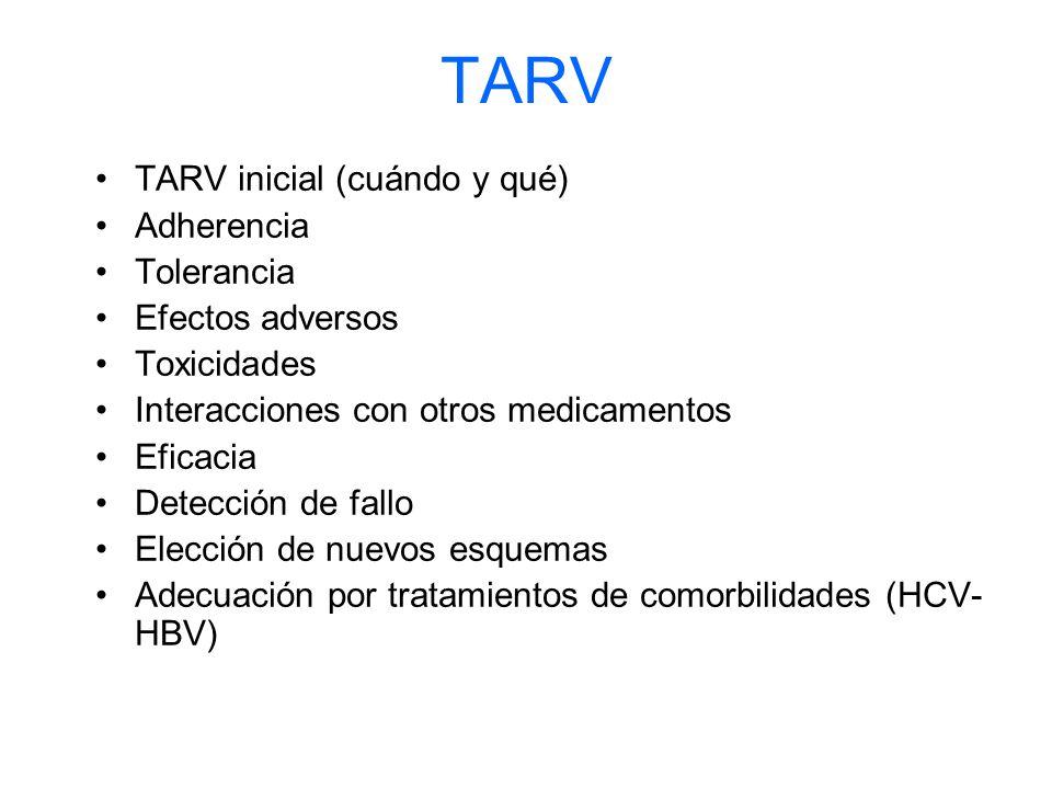 TARV TARV inicial (cuándo y qué) Adherencia Tolerancia Efectos adversos Toxicidades Interacciones con otros medicamentos Eficacia Detección de fallo Elección de nuevos esquemas Adecuación por tratamientos de comorbilidades (HCV- HBV)