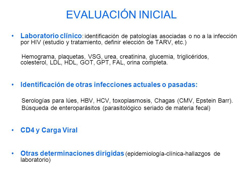 EVALUACIÓN INICIAL Laboratorio clínico : identificación de patologías asociadas o no a la infección por HIV (estudio y tratamiento, definir elección de TARV, etc.) Hemograma, plaquetas, VSG, urea, creatinina, glucemia, triglicéridos, colesterol, LDL, HDL, GOT, GPT, FAL, orina completa.