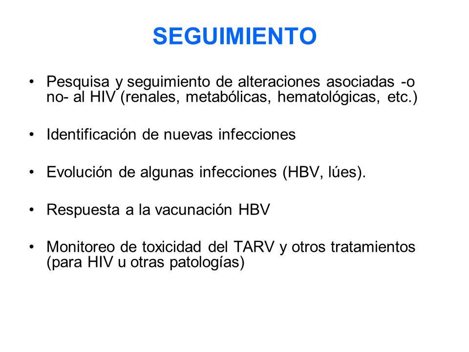 SEGUIMIENTO Pesquisa y seguimiento de alteraciones asociadas -o no- al HIV (renales, metabólicas, hematológicas, etc.) Identificación de nuevas infecciones Evolución de algunas infecciones (HBV, lúes).