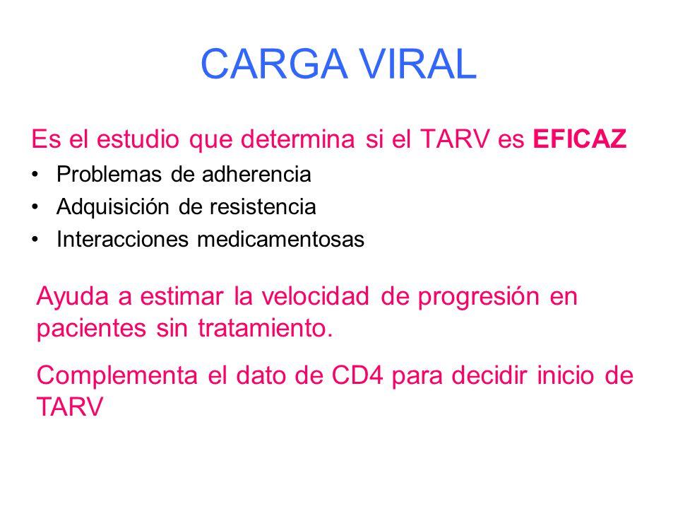 CARGA VIRAL Es el estudio que determina si el TARV es EFICAZ Problemas de adherencia Adquisición de resistencia Interacciones medicamentosas Ayuda a estimar la velocidad de progresión en pacientes sin tratamiento.