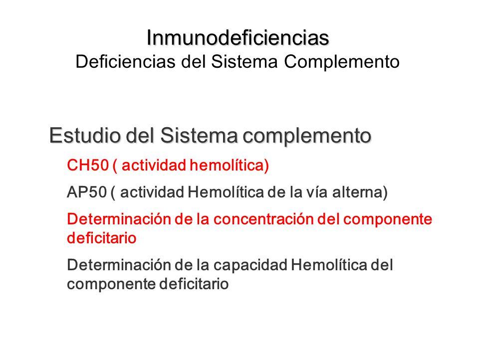 Inmunodeficiencias Inmunodeficiencias Deficiencias del Sistema Complemento Estudio del Sistema complemento CH50 ( actividad hemolítica) AP50 ( activid