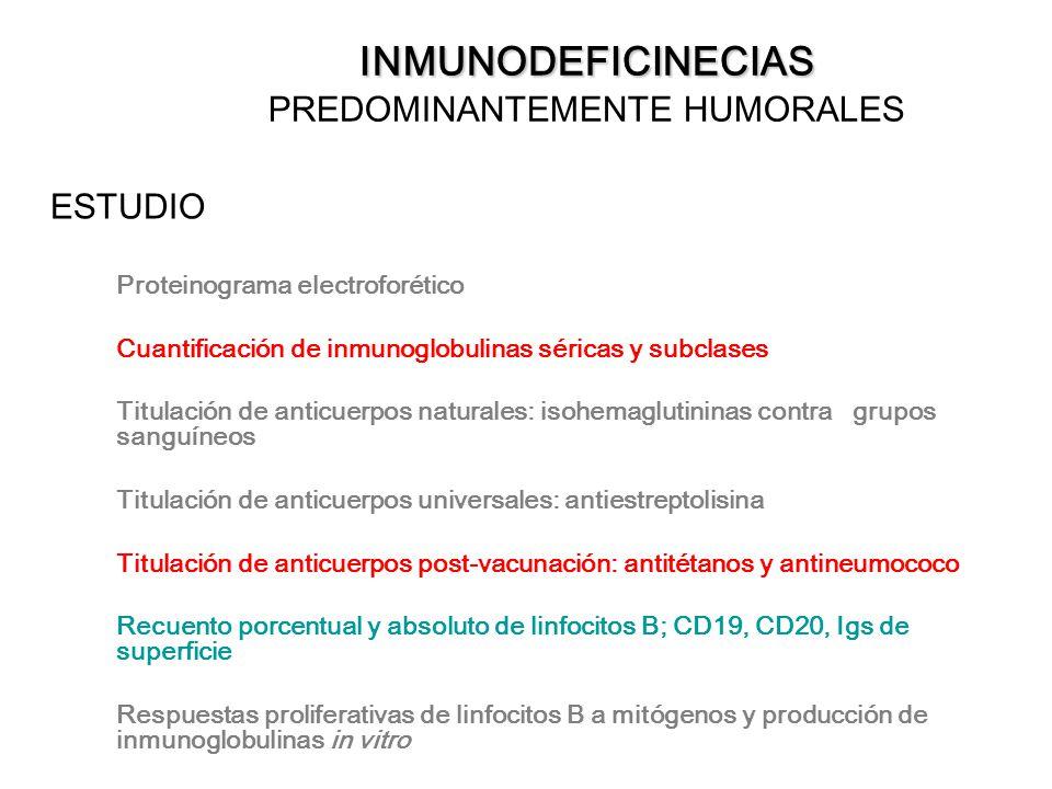 INMUNODEFICINECIAS INMUNODEFICINECIAS PREDOMINANTEMENTE HUMORALES ESTUDIO Proteinograma electroforético Cuantificación de inmunoglobulinas séricas y s