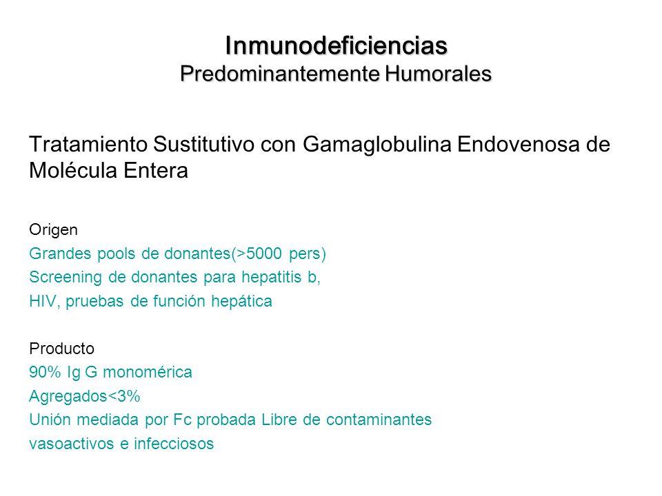 Inmunodeficiencias Predominantemente Humorales Tratamiento Sustitutivo con Gamaglobulina Endovenosa de Molécula Entera Origen Grandes pools de donante