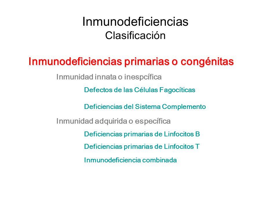 Inmunodeficiencias Clasificación Inmunodeficiencias primarias o congénitas Inmunidad innata o inespcífica Defectos de las Células Fagocíticas Deficien