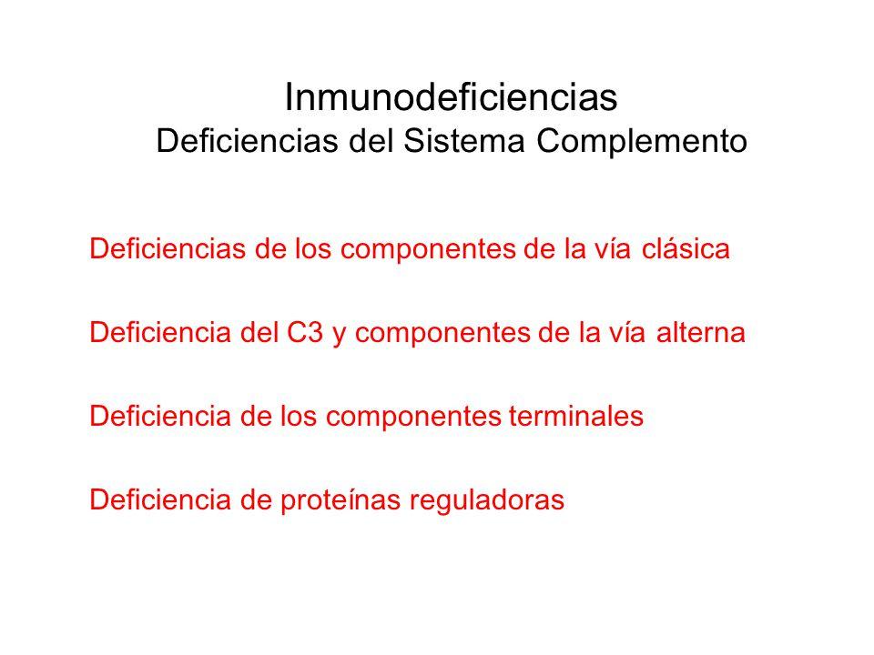 Deficiencias de los componentes de la vía clásica Deficiencia del C3 y componentes de la vía alterna Deficiencia de los componentes terminales Deficie
