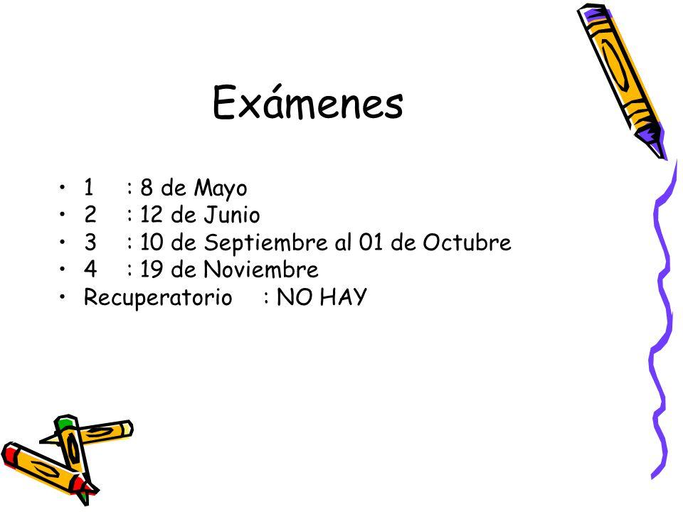 Exámenes 1: 8 de Mayo 2: 12 de Junio 3: 10 de Septiembre al 01 de Octubre 4: 19 de Noviembre Recuperatorio: NO HAY