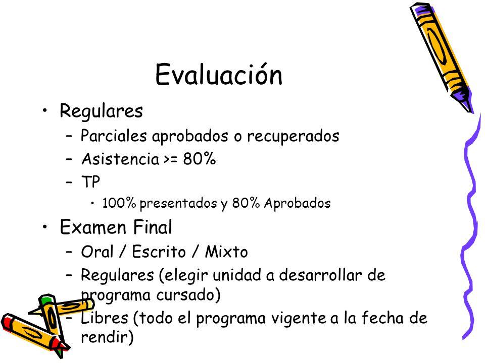 Evaluación Regulares –Parciales aprobados o recuperados –Asistencia >= 80% –TP 100% presentados y 80% Aprobados Examen Final –Oral / Escrito / Mixto –Regulares (elegir unidad a desarrollar de programa cursado) –Libres (todo el programa vigente a la fecha de rendir)