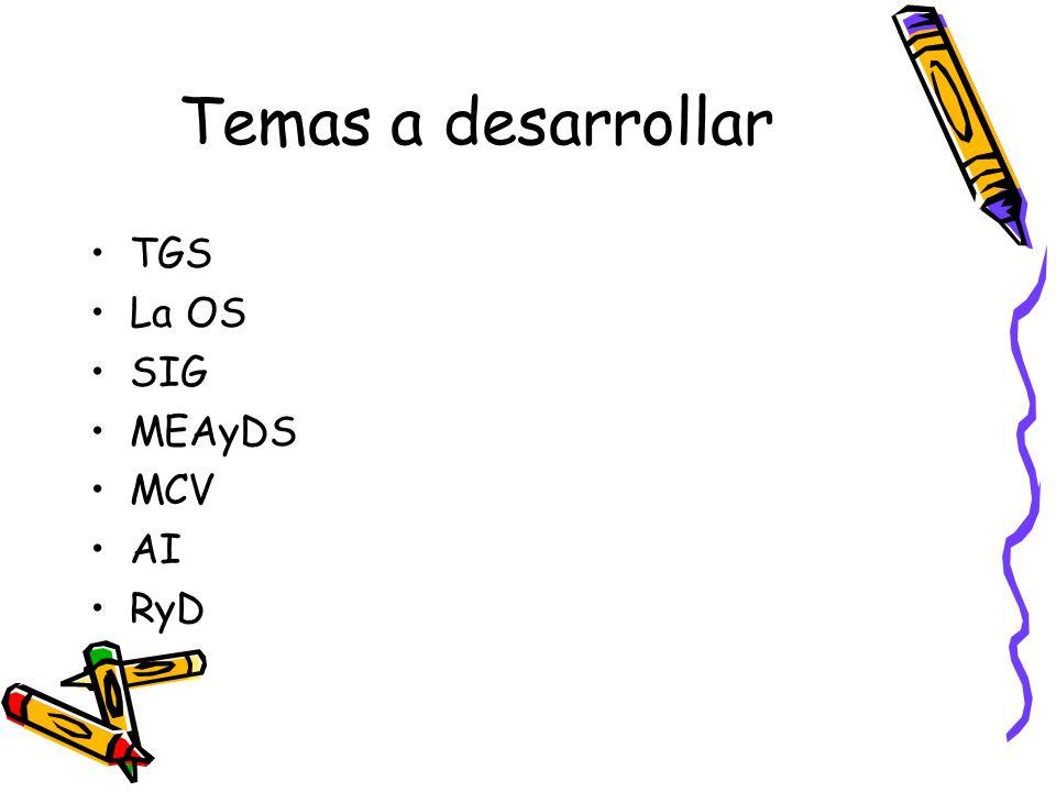 Temas a desarrollar TGS La OS SIG MEAyDS MCV AI RyD