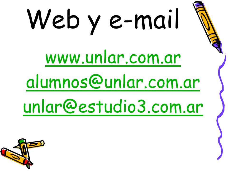 Web y e-mail www.unlar.com.ar alumnos@unlar.com.ar unlar@estudio3.com.ar